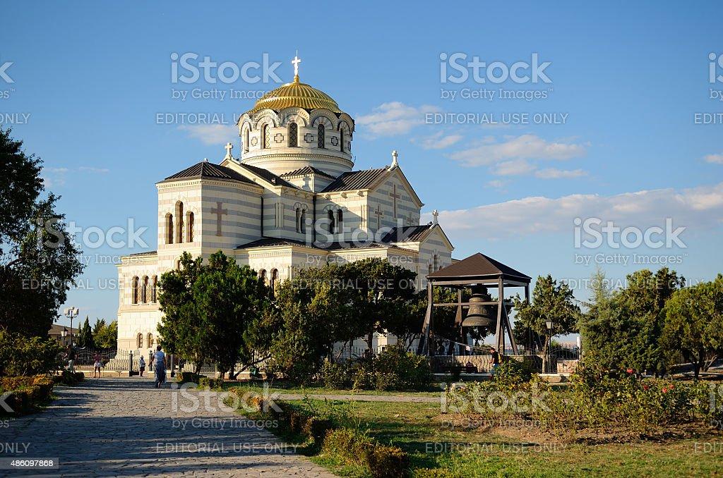 The Vladimirskiy (St. Vladimir) Cathedral in Chersonesus, Sevastopol stock photo