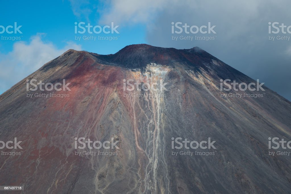 The volcanic crater of Mt.Ngauruhoe (Mt.Doom) of Tongariro national park, World Heritage Sites of New Zealand. stock photo