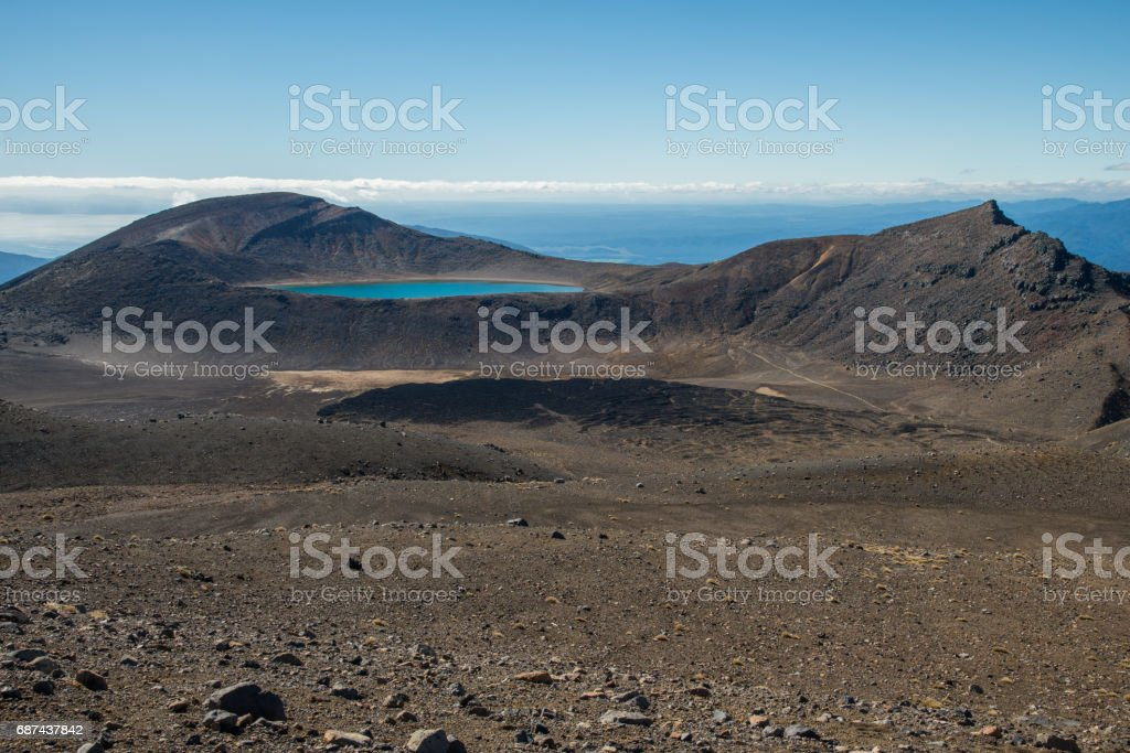 The volcanic landscape of Tongariro national park, World Heritage Sites in New Zealand. stock photo
