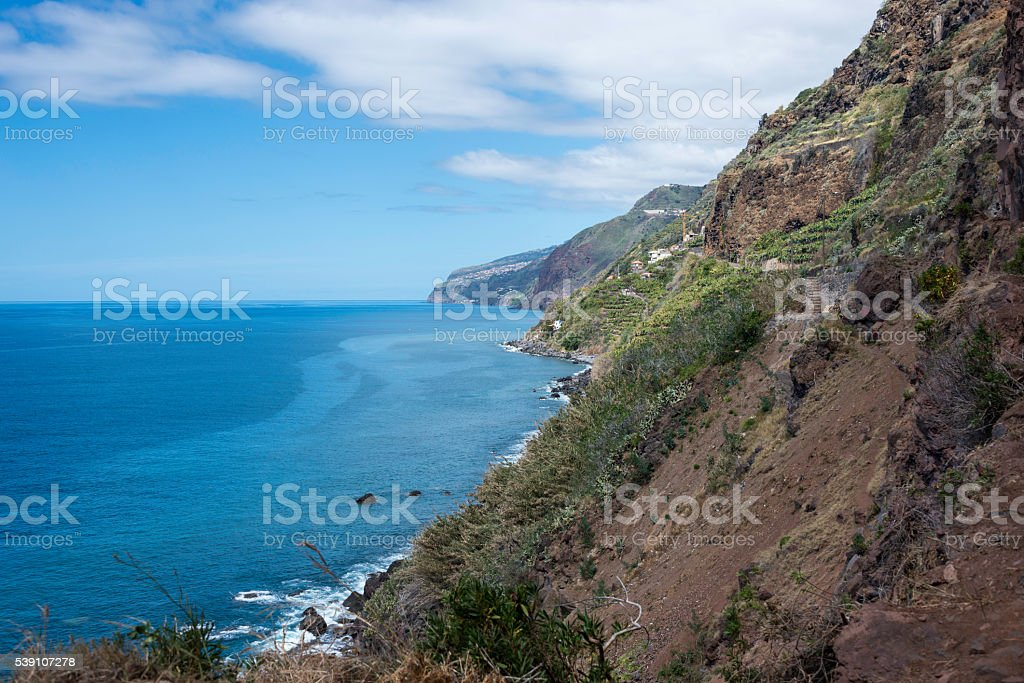 the volcanic rocks of madeira island stock photo
