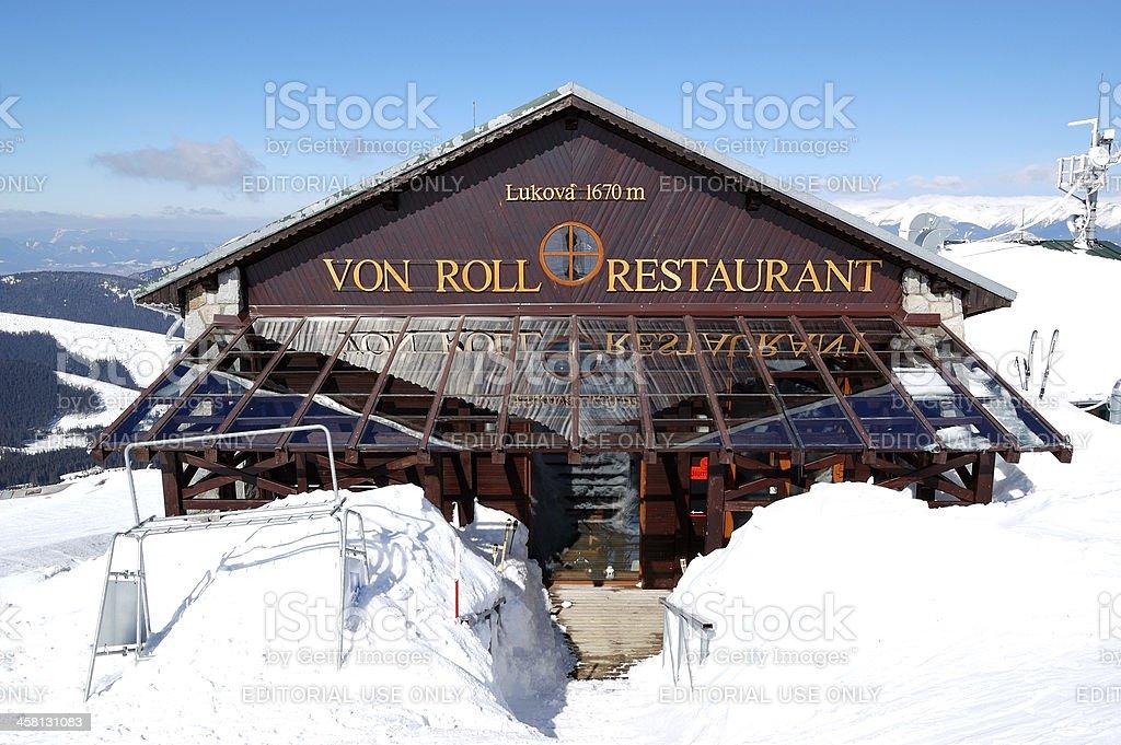 The Von Roll restaurant in Jasna Low Tatras royalty-free stock photo