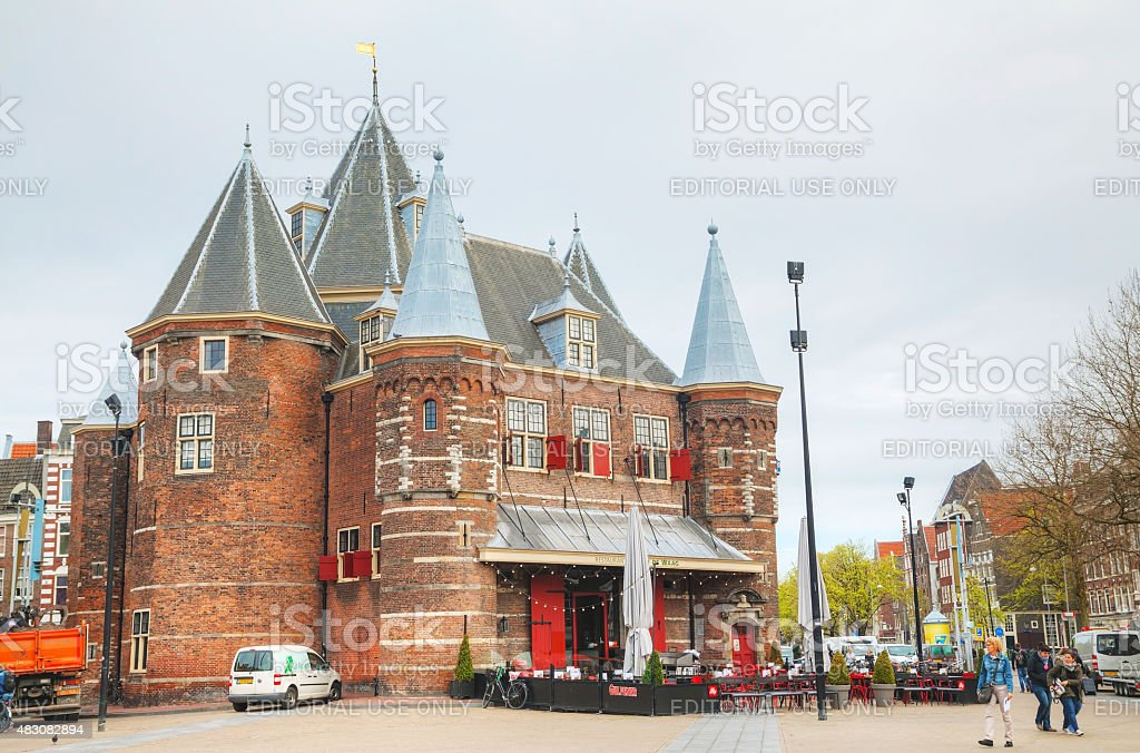 The Waag (Weigh house) in Amsterdam stock photo