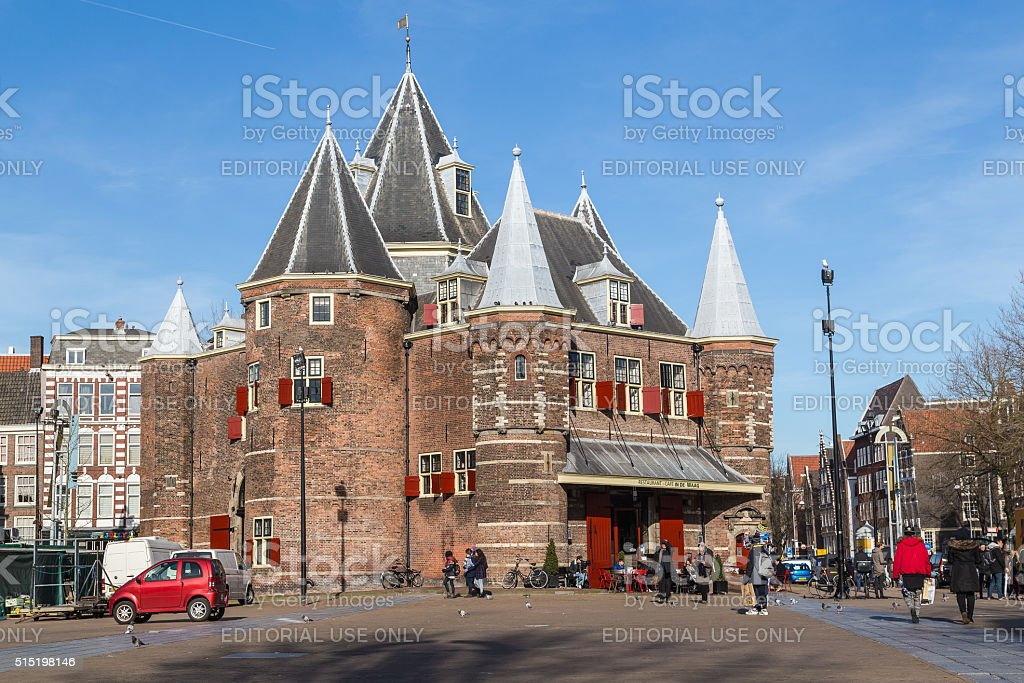 The Waag ('weigh house') in Amsterdam stock photo
