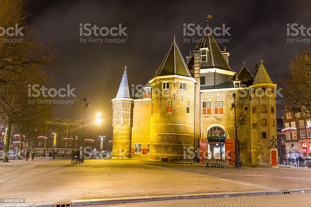 The Waag ('weigh house') in Nieuwmarkt square, Amsterdam, The Netherlands stock photo