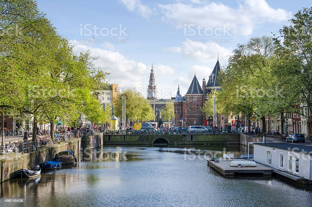The Waag (weigh house) on Nieuwmarkt square in Amsterdam stock photo