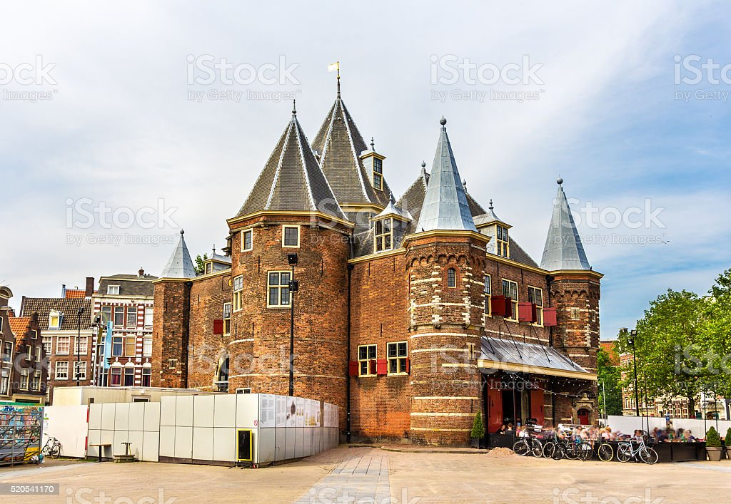 The Waag or Weigh House in Amsterdam stock photo