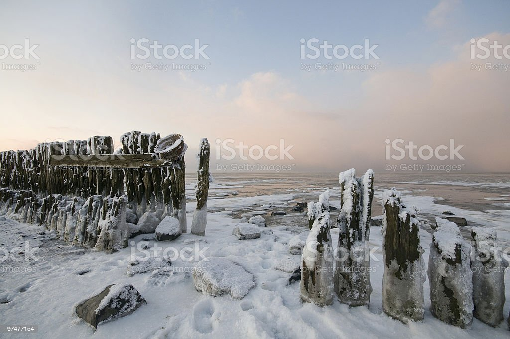The wadden Sea by Paesens Moddergat in winter condition stock photo