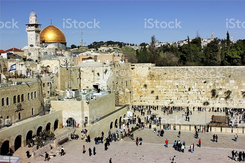 the wailing western wall in Jerusalem stock photo