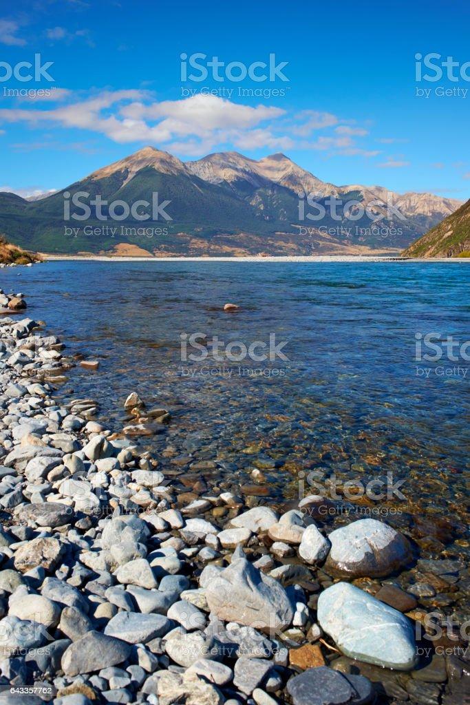 The Waimakariri River In Arthur's Pass, New Zealand stock photo