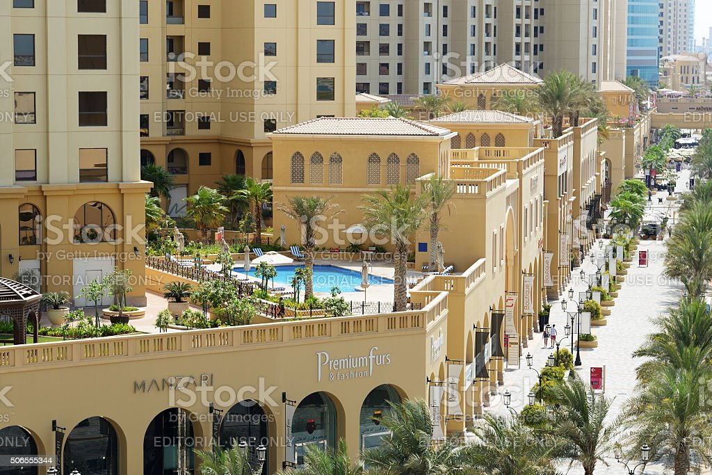 The Walk at Jumeirah Beach Residence and tourists stock photo
