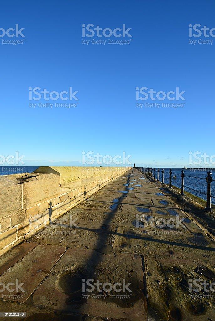 The walk way to Newcastle sea side,Tynmounth,UK royalty-free stock photo