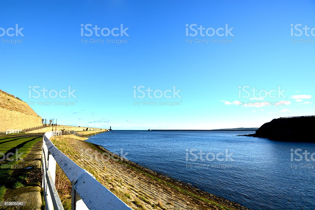 The walk way to Newcastle sea side,Tynmounth,UK royalty-free stock photo