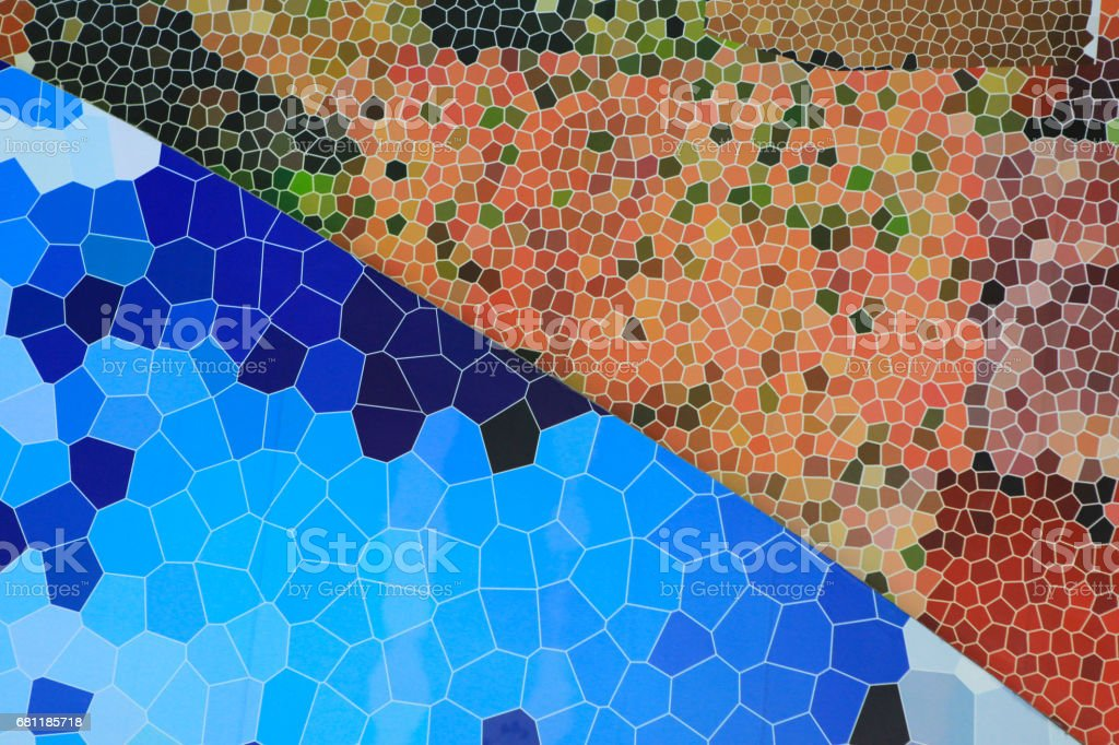The wall are decorated with polygonal abstract background . stock photo