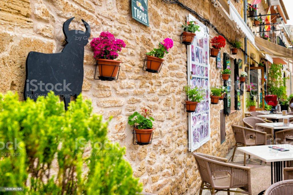 The wall of a Spanish tapas restaurant stock photo