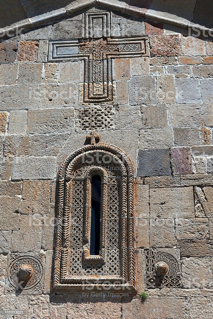 The wall of Gergeti (Trinity) church. Stepantsminda. Georgia. stock photo