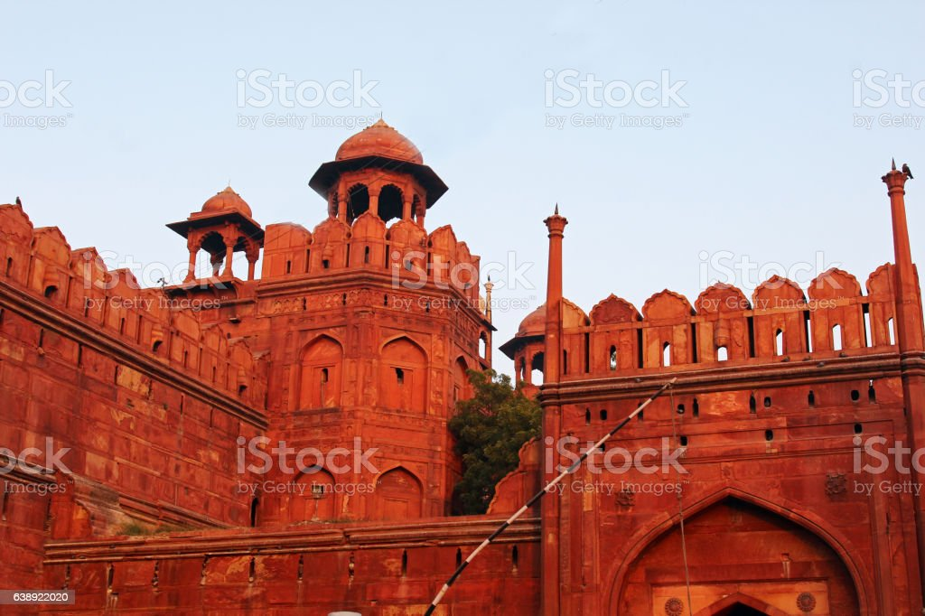 The wall of Red Fort stock photo