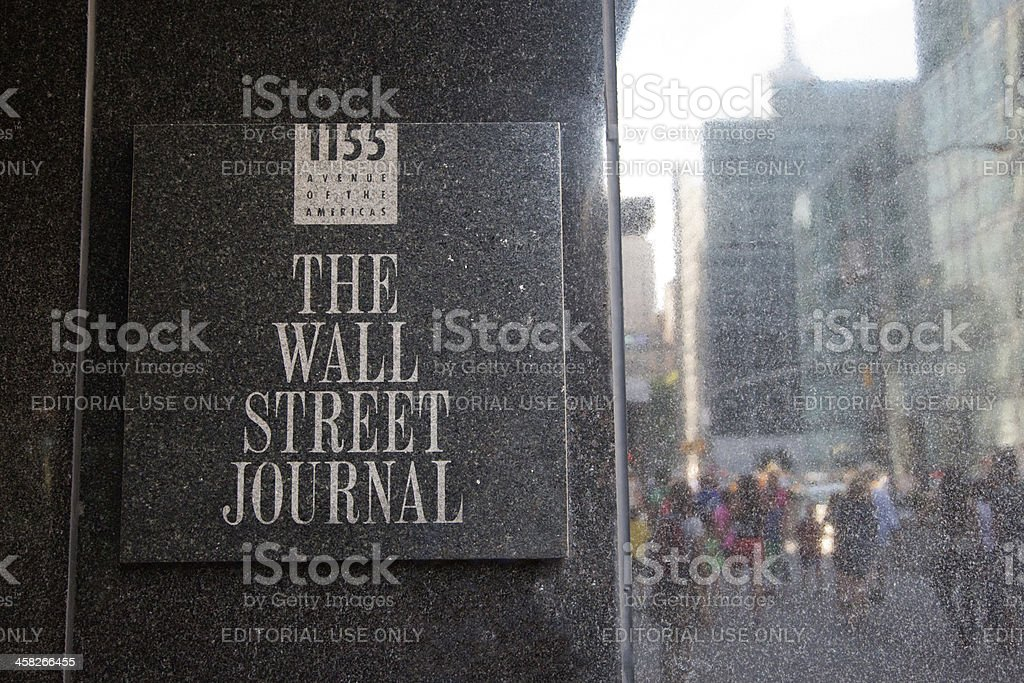 The Wall Street Journal sign in its building stock photo