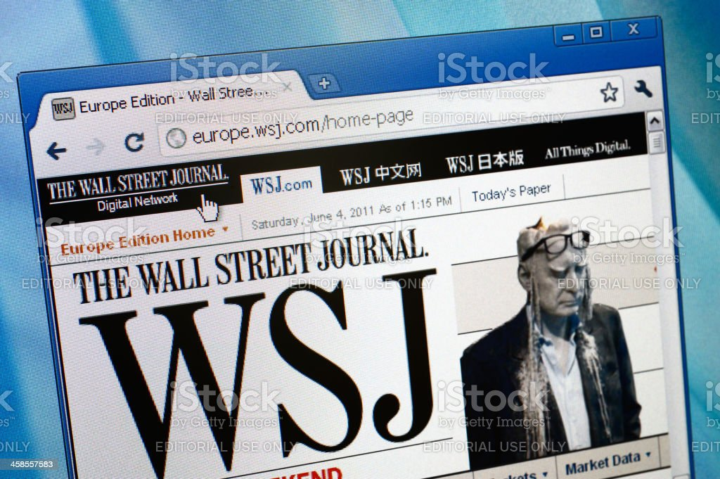 The Wall Street Journal webpage on browser stock photo