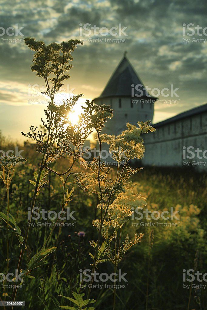 The walls of an ancient monastery royalty-free stock photo