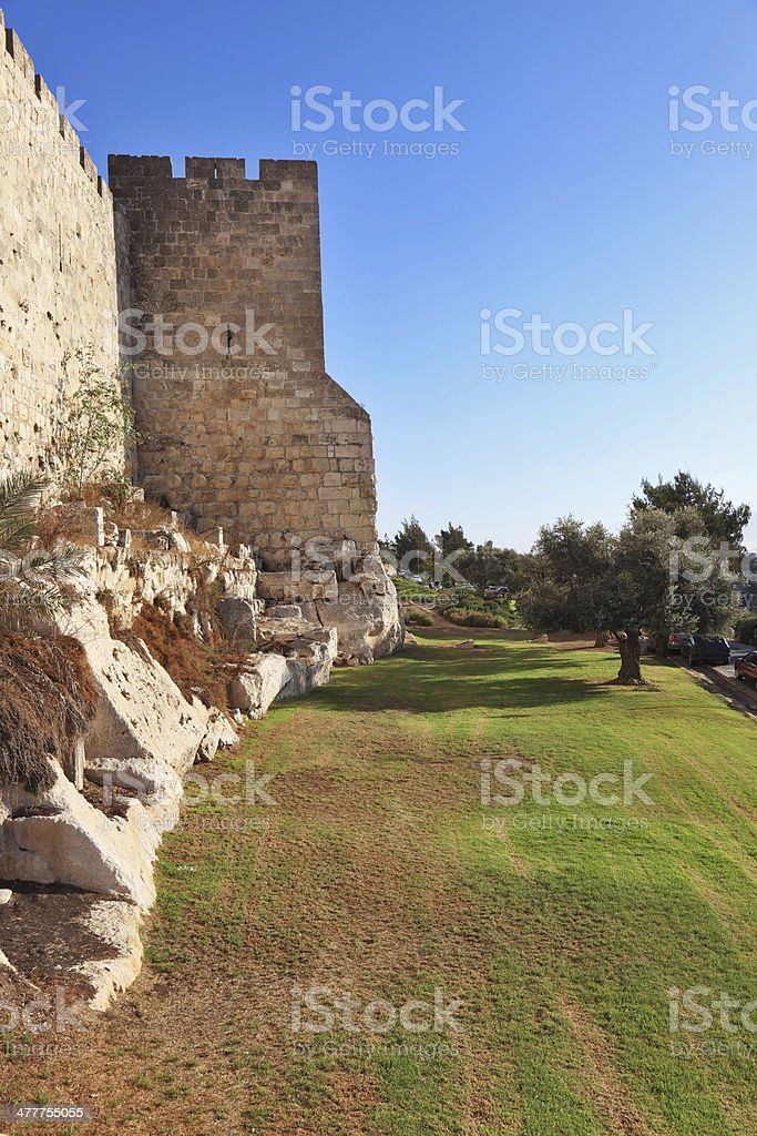 The walls of Jerusalem  illuminated  sunset royalty-free stock photo