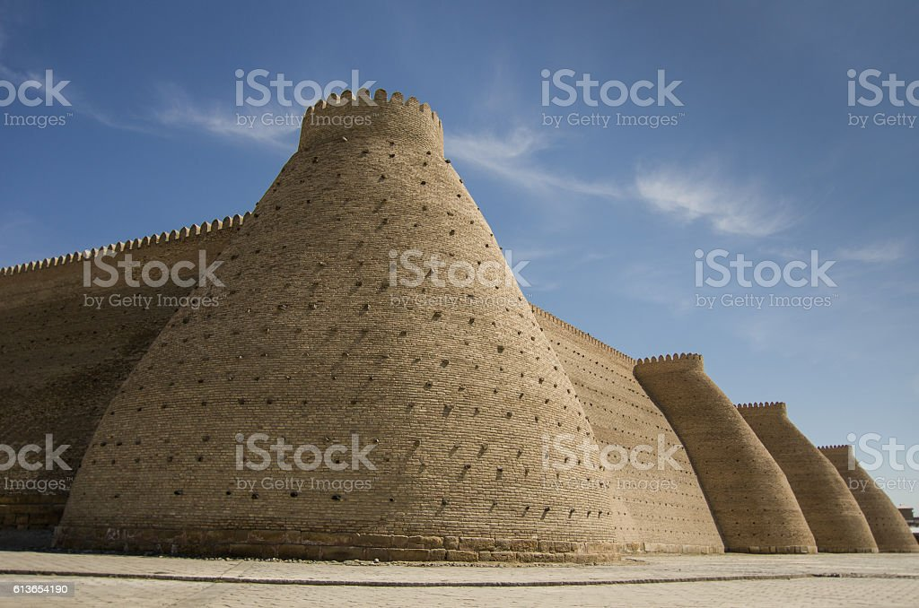 The walls of the fortress ( citadel ) in Bukhara stock photo
