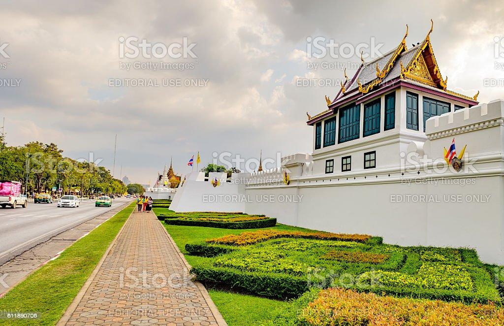 The walls of the Grand Palace, Bangkok, Thailand. stock photo