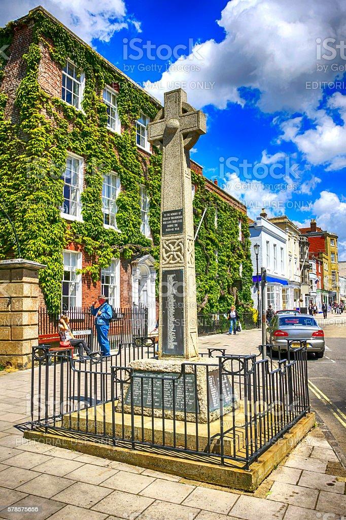 The War Memorial in the High street of Lymington, UK stock photo