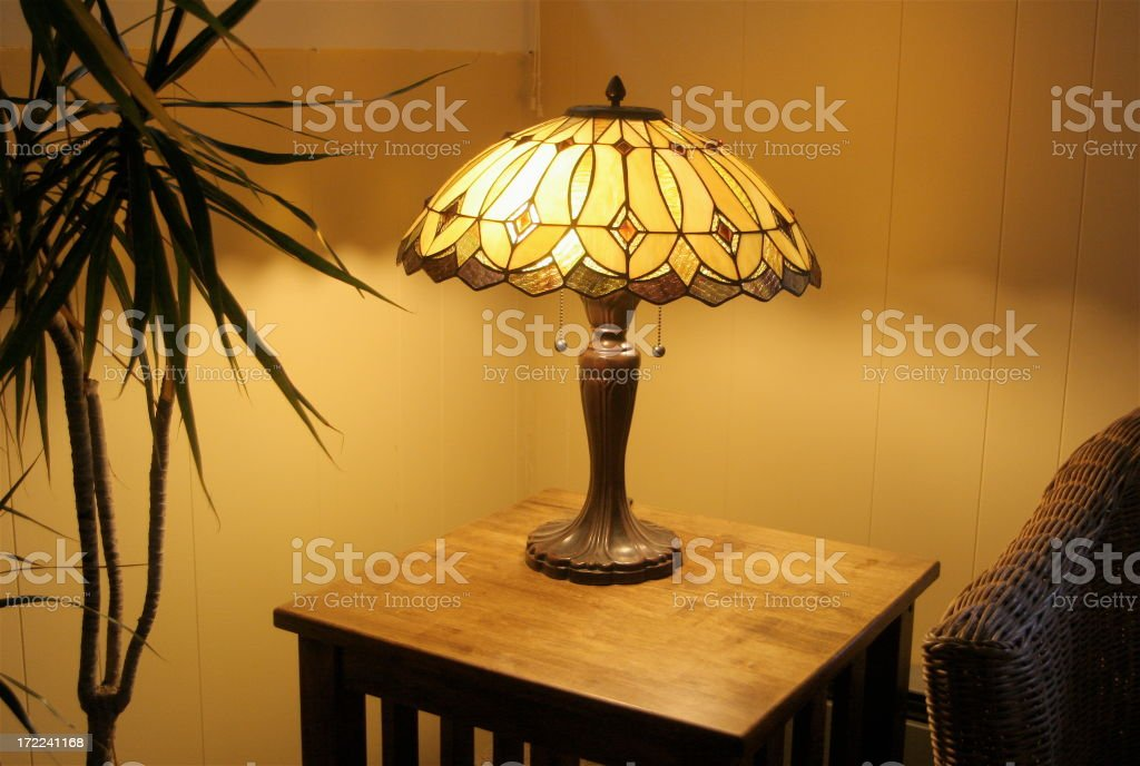 The Warm Glow From Corner Tiffany Lamp stock photo
