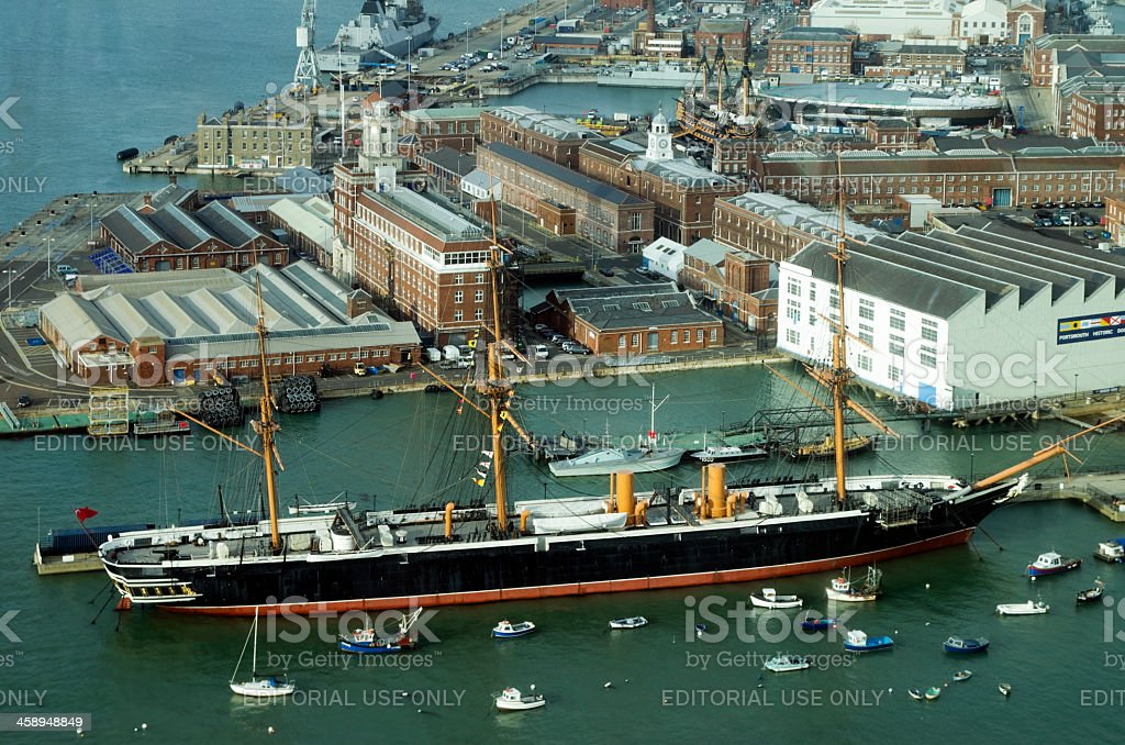 The Warrior and Portsmouth Historic Dockyard from above stock photo