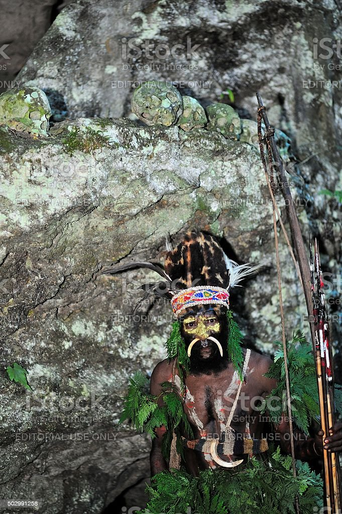 The warrior of a Papuan tribe of Yafi stock photo