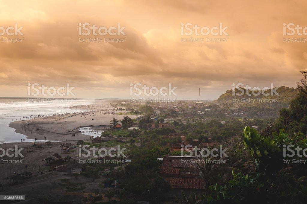The Water and Mountains of Pantai Parangtritis royalty-free stock photo