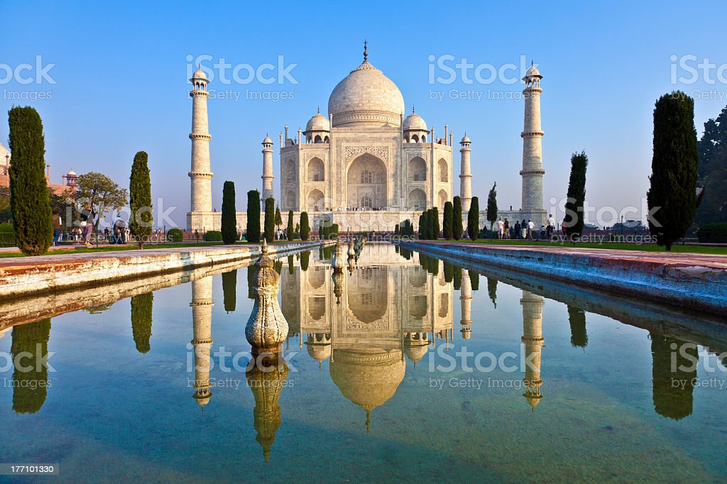 The water reflection of the Taj Mahal in India stock photo
