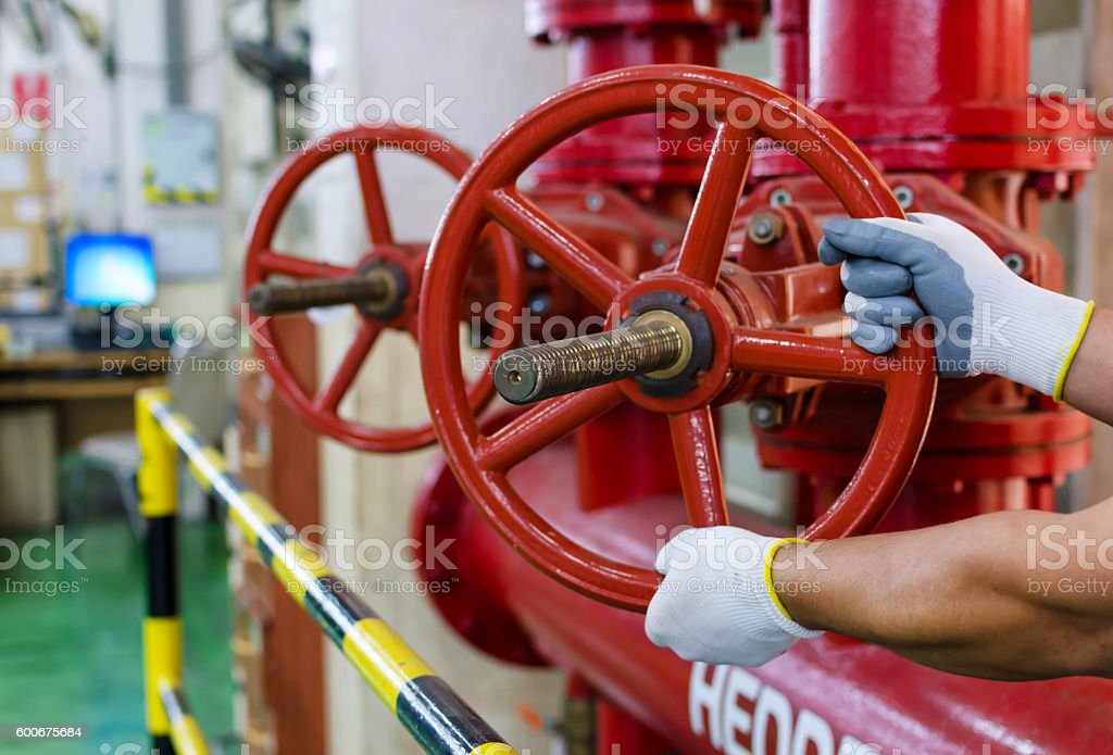 the water sprinkler system control stock photo