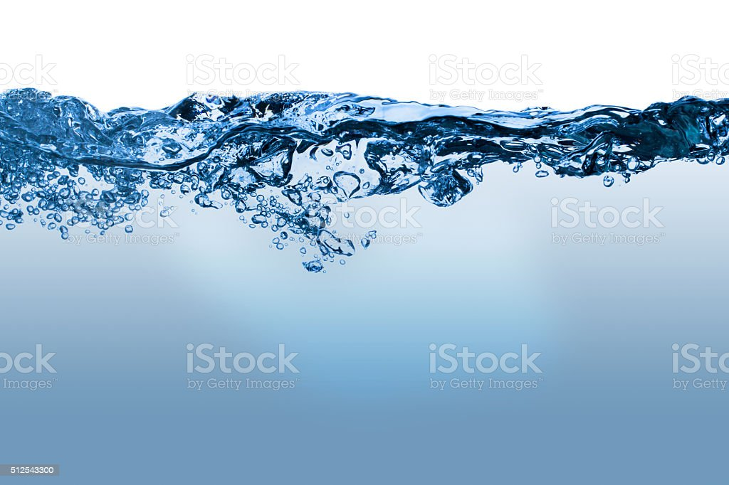 The water surface with underwater bubbles stock photo