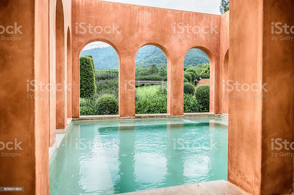 The Water Temple is a stone structure stock photo