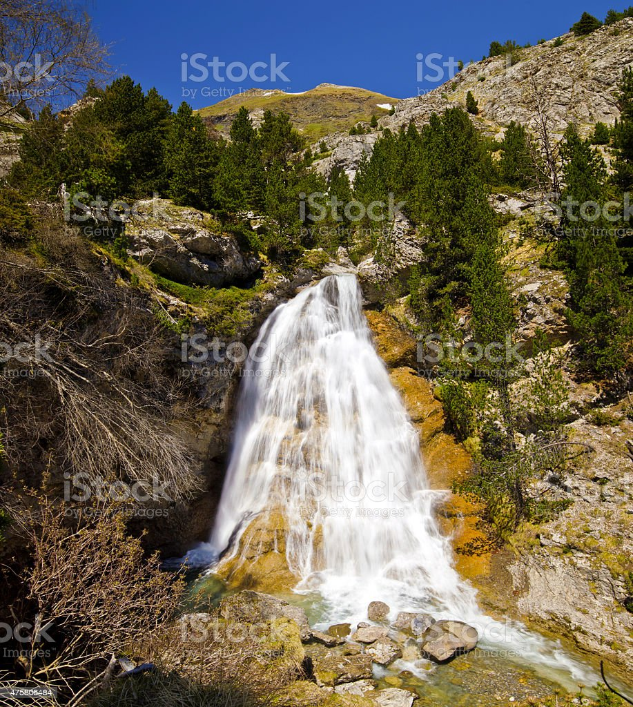 The waterfall of Tourettes river in Gavarnie Valley stock photo