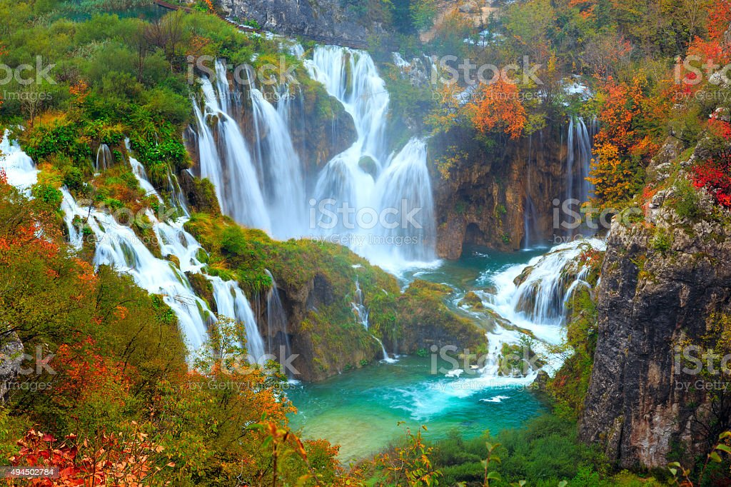 The waterfalls of Plitvice National Park stock photo