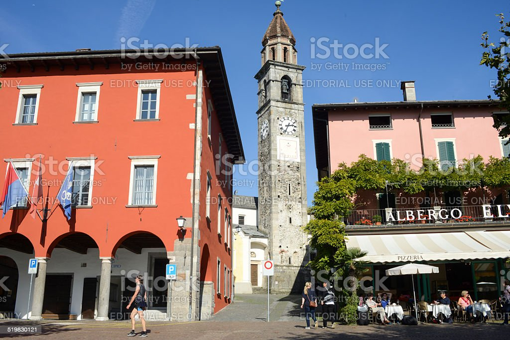 The waterfront of Ascona on Switzerland stock photo