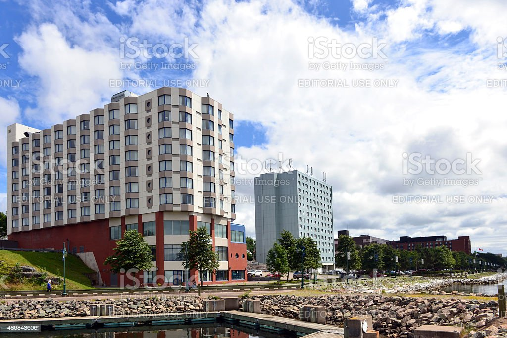 The waterfront of Sydney Nova Scotia stock photo