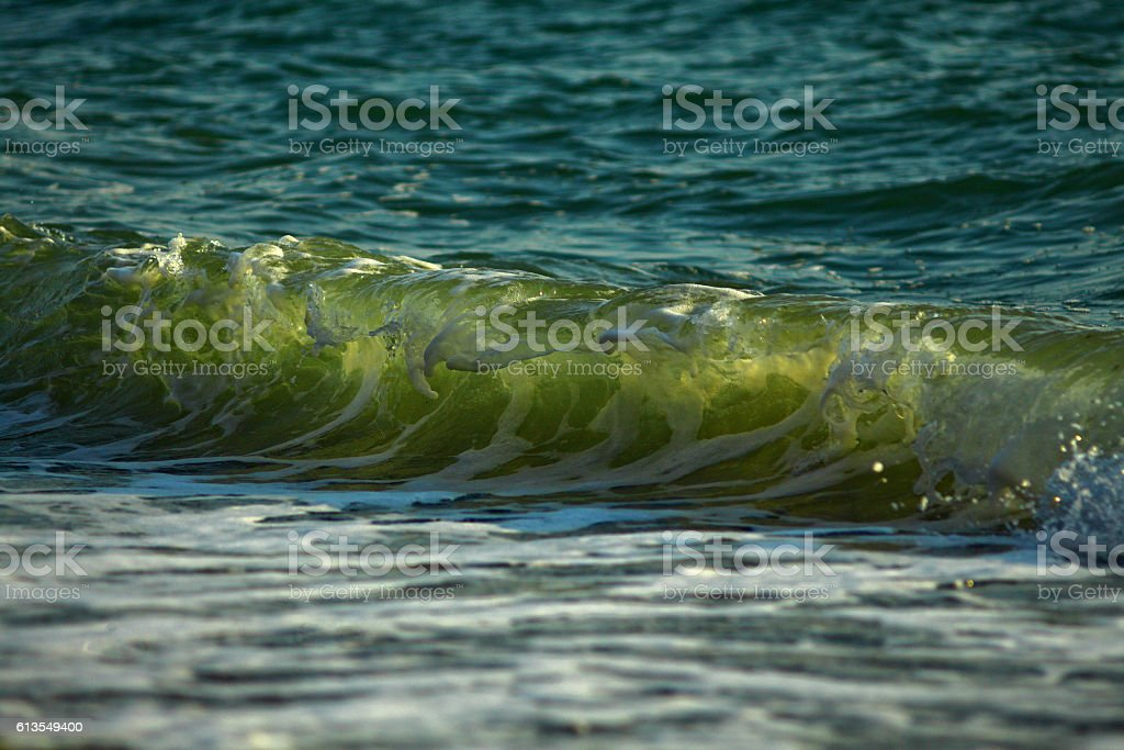 The wave highlighted by the sun stock photo