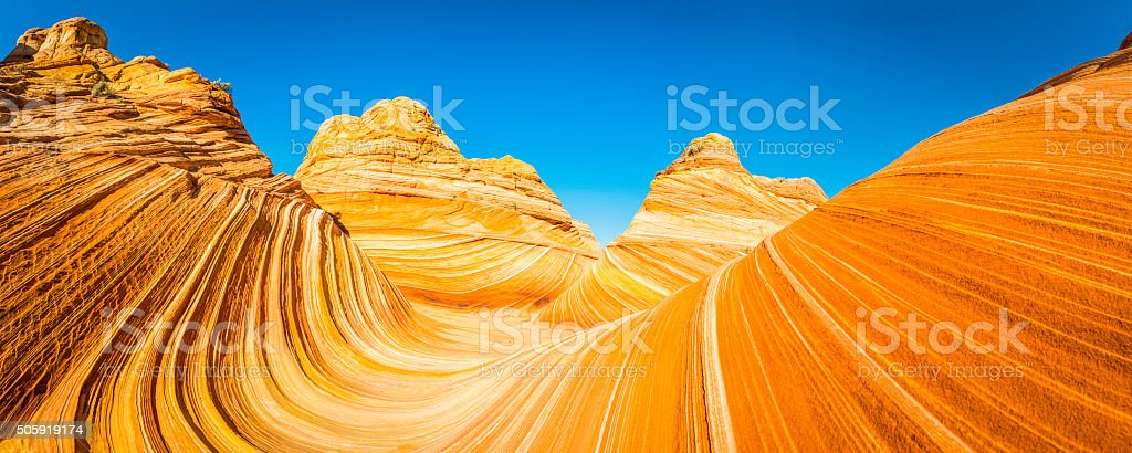 The Wave iconic desert strata golden sandstone Coyote Buttes Arizona stock photo