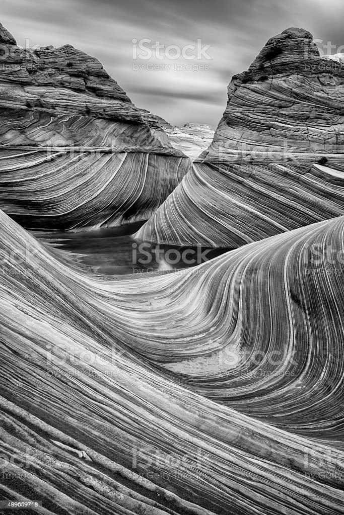 The Wave in Black and White stock photo