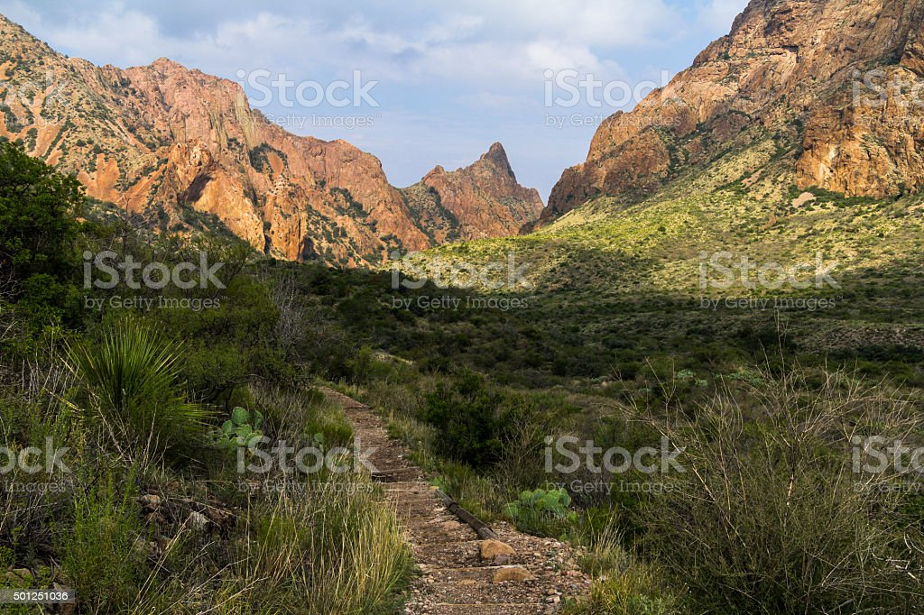 The way - of the trail in Big Bend, Texas stock photo