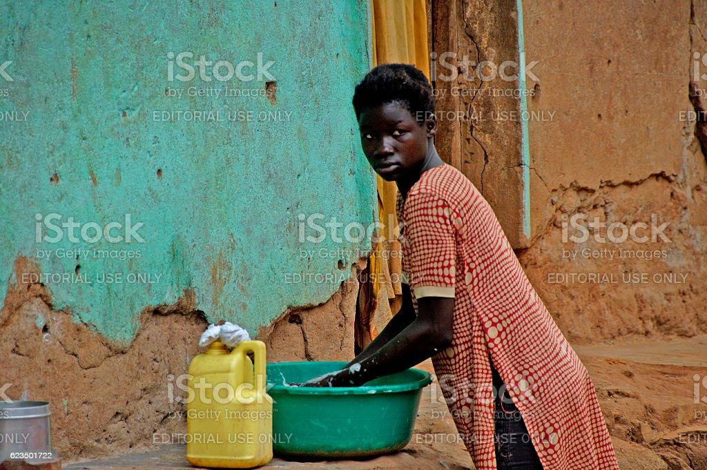 The way people life in Uganda. stock photo
