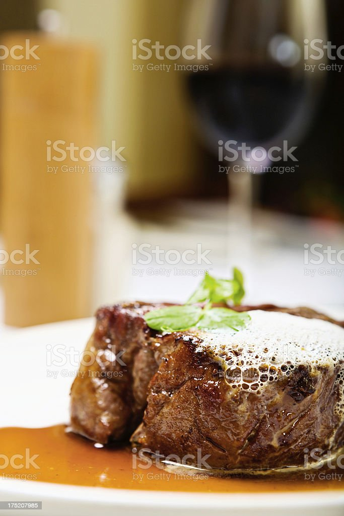 The way to a man's heart: steak and red wine stock photo