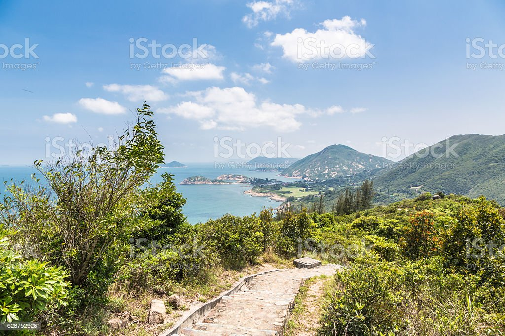 The way to Big waves beach in Hong Kong stock photo