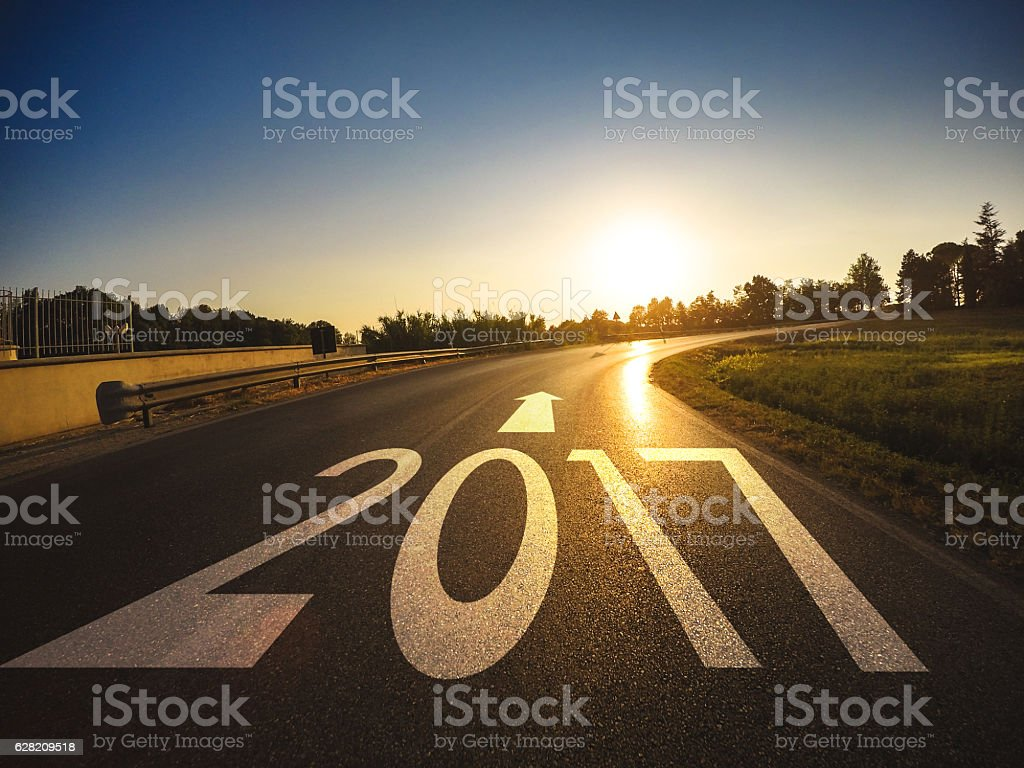 The way to new year 2017 stock photo