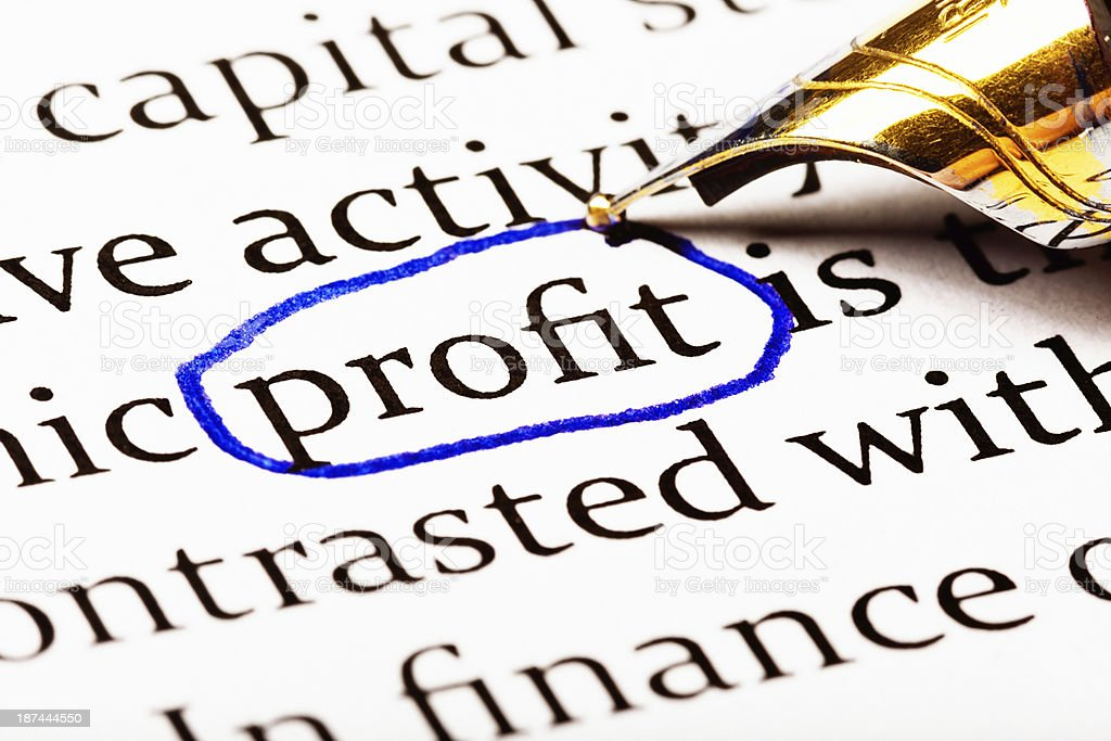 The way to success: word Profit circled in business document royalty-free stock photo