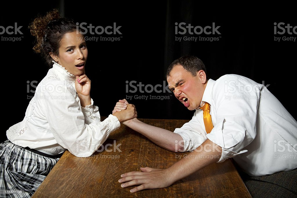 The weaker sex stock photo