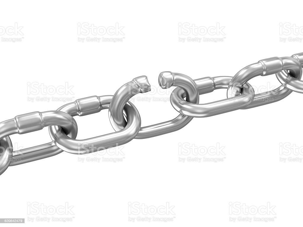 The Weakest Link Concept. Broken Metal Chain stock photo